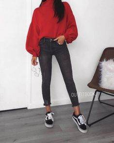 - Sweater Fashion - Red sweater with grey jeans and black and white vans. Red sweater with grey jeans and black and whit. Mode Outfits, Jean Outfits, Fashion Outfits, Fashion Boots, Fashion Ideas, Womens Fashion, Look Skater, Black And White Vans, Red Black