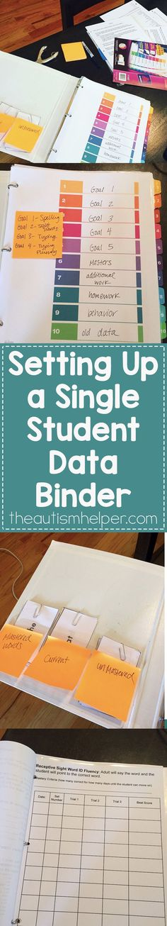 Setting Up a Single Student Data Binder Having a separate data binder, clipboard, or area for data for each student is a great way to stay organized plus makes writing IEPs a bit quicker. It's perfect for one on one paraprofessionals & in-home therapists! Life Skills Classroom, Autism Classroom, Classroom Ideas, Future Classroom, Student Data Binders, School Binders, Data Folders, Teaching Special Education, Dyslexia Teaching