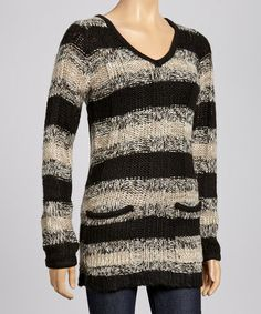 Take a look at this Black & White Stripe V-Neck Sweater by Hadari on #zulily today! $18 !!