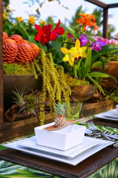Caribbean tropical tablescape with baby pineapple