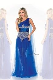 Milano Formals E1588 - Long Single Strap Beads Embellishments w/ Hi-Low Sheer Satin Dress