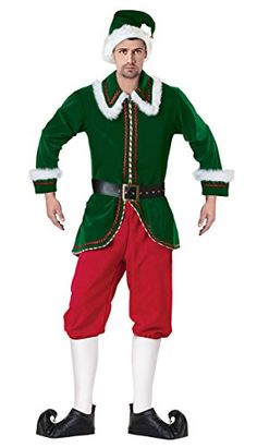 Introducing Killreal Mens Deluxe Funny Elf Velvet Plus Size Christmas Costume GreenRed Large. Get Your Ladies Products Here and follow us for more updates!