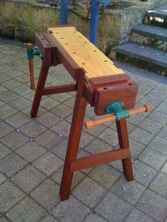 Woodworking Bench -mini-workbench, A Saw Stool on Steriods, by Greg Miller -looks like a fun build. and easily portable compared to a regular size workbench. Woodworking Bench Plans, Workbench Plans, Woodworking Crafts, Woodworking Tools, Portable Workbench, Woodworking Furniture, Garage Workbench, Wood Plans, Popular Woodworking