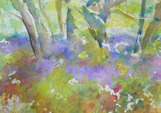 contemporary watercolour painting print abstract impressionist fine art giclee blue bell waseley hills wall art home decor special gift Watercolor Landscape, Watercolor Print, Watercolour Painting, Painting Prints, Fine Art Prints, Original Paintings, Original Art, Impressionist Paintings, Abstract