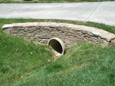 Retaining Wall Around driveway culvert | Dry stack driveway entrance wall