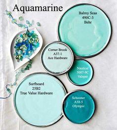 Aquamarine paint colors via Decoratingyoursmallspace.
