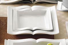Goldbook Book-Shaped Square Pasta Plate 22 oz. - 12/CS