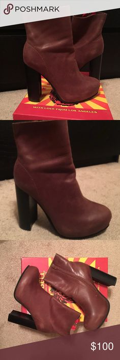 Jeffrey Campbell Puget Booties Rounded toe, genuine leather interior. Cushioned insole. Features a raw edge ankle and a chunky stacked heel! Jeffrey Campbell Shoes Ankle Boots & Booties