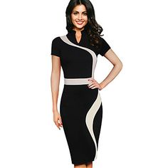 A dress destined for success!  Gorgeous elegant short sleeve knee length black and white dress - perfect for work or special events. Find it at  $15.99. Enjoy up to 85% OFF till December 1st.