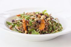 Roasted Carrot and Red Quinoa Salad:  red onion, arugula, dried cranberries, and parsley, in a Middle Eastern lemon vinaigrette and sprinkled with seasoned toasted walnuts.