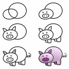 Exciting Learn To Draw Animals Ideas. Exquisite Learn To Draw Animals Ideas. Art Drawings For Kids, Doodle Drawings, Drawing For Kids, Easy Drawings, Animal Drawings, Doodle Art, Art For Kids, Crafts For Kids, Pig Drawing