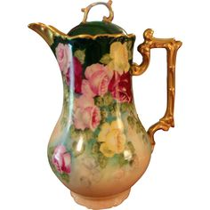 Large Limoges Hand Painted Rose Chocolate Pot, Artist Signed and Dated 1901