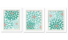 Nursery Flower Prints Mint Green Nursery Mint and by ChicWallArt, $35.00