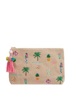 Embroidered with tropical motifs and fun slogans, our Go Bananas wash bag will bring summer vibes into your accessories collection whatever the weather. Fast...