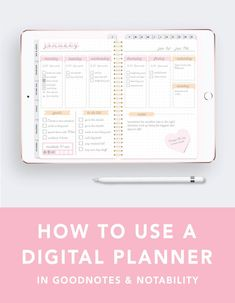 How to use a Digital Planner for the iPad Pro - Ipad Pro - Trending Ipad Pro for sales. - Here's a quick tutorial on how to use a digital planner on your iPad. It shows you how to use your planner in the apps Goodnotes and Notability! Planner Apps, Planner Layout, Happy Planner, Planner Stickers, Planner Ideas, Planner Covers, Planner Diy, Teacher Planner, Planner Template