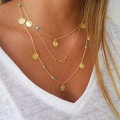 Elegant Turquoise Multi Layer Gold Necklace. Infinity, Disc, Coin, Modern, Minimalist Chain Necklace. PETITE NECKLACE