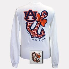 Auburn Tigers War Eagle Anchor Bow Chevron White Bright Long Sleeve T Shirt - SimplyCuteTees