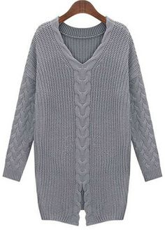 Front Slit Cable Sweater OASAP.com
