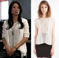 WANT...Elementary season 2, episode 2: Joan Watson's (Lucy Liu) white sheer panel t-shirt/tee by Maje