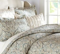 $149 - no bedskirt - Mackenna Paisley Duvet Cover & Sham - Blue | Pottery Barn - $109 for duvet cover, $33 each for King Pillow sham  - have 15% off coupon.