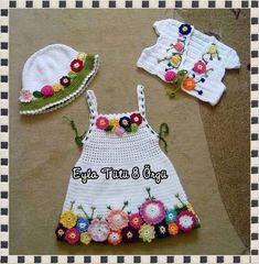Ideas For Crochet Baby Dress White Hats Crochet Toddler, Baby Girl Crochet, Crochet Baby Clothes, Crochet For Kids, Crochet Children, Col Crochet, Crochet Motifs, Crochet Toys, Free Crochet