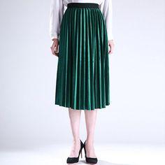 Women Skirt Pleated Faldas Largas Jupe Femme Long Warm High Waist Skirts For Women Elegant Female Green Velvet Skirts Retro