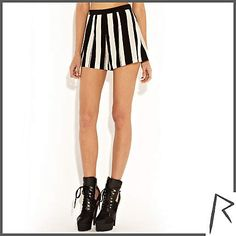 Black and white Rihanna painted stripe shorts £35