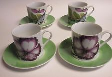 The Exotic Plant Mottahedeh 4 Cup & Saucer Sets Flat Cups Floral Leaf Butterfly