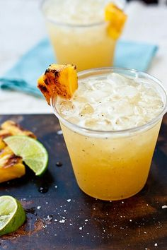 GRILLED PINEAPPLE MARGARITA Ingredients    4.5 oz silver tequila   12 oz margarita mix   3 oz orange liqueur   2 Tbsp juices from grilled pineapple 1 1-inch thick slice of grilled fresh pineapple 1. To grill a pineapple, remove the husk, slice into ~1-inch thick rings, and place on a preheated grill Cook ~4minutes each side Transfer the pineapple to a bowl and place in the fridge until cold.4. Add tequila, margarita mix, liqueur, the pineapple juice and a slice of grilled pineapple to a…