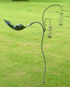 Metal Bird Feeder and Bird Bath