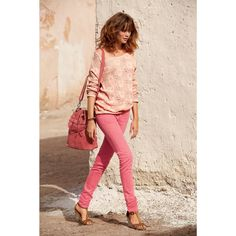 Stretch Cotton Low Waist Skinny Trousers, Pink