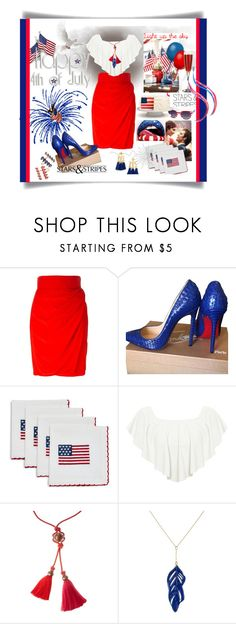 """""""Untitled #950"""" by talatay ❤ liked on Polyvore featuring Versace, Christian Louboutin, Sur La Table, Charlotte Russe, WearAll, Lanvin and Aurélie Bidermann"""