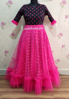 Black and pink colour designer long frock with ruffles # designer long frock # long frock designs # Indian dresses # Indian outfit # Indian ethnic outfit Mehndi Desighn, Frock Design, Indian Lehenga, Ethnic Outfits, Dresses Kids Girl, Anarkali Dress, Indian Ethnic, Indian Dresses, Frocks