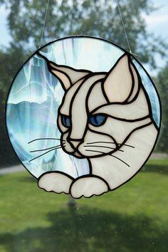 MEOW! White Cat Suncatcher by StainedGlassByBev on Etsy