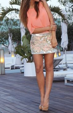 sequin skirt & colorful chiffon top paired with nude heels.