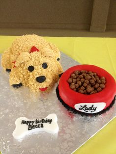 Puppy birthday cake,hmm but I wouldn't want to cut into it, creepy
