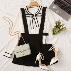 To find out about the Solid Ruffle Hem Frill Trim Straps Skirt at SHEIN, part of our latest Skirts ready to shop online today! Kpop Fashion Outfits, Girls Fashion Clothes, Korean Outfits, Kawaii Fashion, Cute Fashion, Look Fashion, Korean Girl Fashion, Korea Fashion, Cute Comfy Outfits