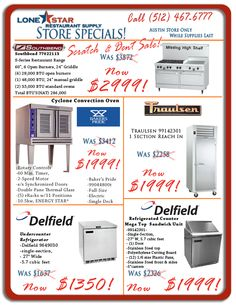Austin Restaurant Supply Weekly Specials: Scratch and Dent Wholesale Restaurant Equipment!