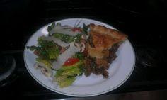 Italian pork pie and simple salad.