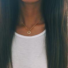Gold Plated Ella Outline Necklace – Ivory Ella