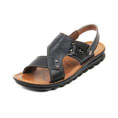 Leather Men's Flat Heel Comfort Sandals Shoes (More Colors)