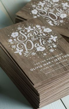Wedding invitations / Save the date / rehearsal dinner / DIY opportunity / stamping / Stunning wedding invites produced on real wood with white printing. Wood Wedding Invitations, Save The Date Invitations, Wedding Stationary, Wedding Paper, Wedding Cards, Invitations Online, Wedding Album, Weding Invitation Ideas, Reception Invitations