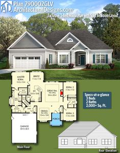 Architectural Designs Exclusive House Plan 790002GLV | 3 beds | 2 baths | 2,000+ Sq.Ft. | Ready when you are. Where do YOU want to build? #790002GLV #adhouseplans #architecturaldesigns #houseplan #architecture #newhome #newconstruction #newhouse #homedesign #dreamhome #homeplan #architecture #architect #housegoals #house #home #design #traditional #exclusive