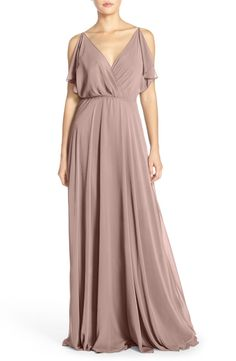 Free shipping and returns on Jenny Yoo 'Cassie' Flutter Sleeve Chiffon A-Line Gown at Nordstrom.com. Fluttery panels drape the shoulders to cap off the ethereal romance of a dreamy chiffon gown. V-necklines at the front and back showcase glowing skin, a tunneled drawstring tie at the back waist customizes the fit and defines the silhouette, and the long, floor-grazing skirt moves gracefully with every step.