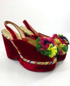 Vintage 30's 40s RARE Peep Toe Platform Shoes Red Velvet Pom Poms WWII Rainbow   eBay