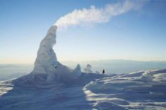 Snow Chimney, Arctic Areas  http://www.topteny.com/top-10-rarest-weirdest-natures-phenomena/
