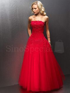 Strapless Beaded Tulle Red Ball Gown Prom Dress