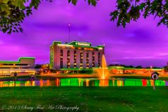 Three High Dynamic Range (HDR) photos, composited, of the sun rising over Flower Hospital in Sylvania, Ohio