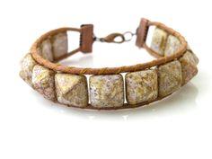 Pyramide leather bracelet
