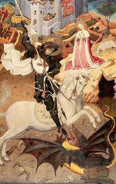 Bernat Martorell - Sant Jordi Mata El Drac (Saint George Killing the Dragon); Art Institute of Chicago, Illinois, USA; Patron Saint Of England, Renaissance Kunst, Saint George And The Dragon, La Madone, Google Art Project, Medieval Paintings, Saint Georges, Art Ancien, Art Institute Of Chicago